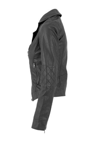 Vegan Leather Biker Jacket Black sida