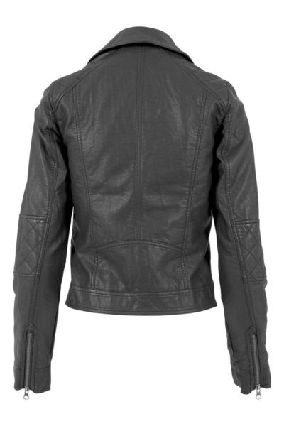 Vegan Leather Biker Jacket Black baksida