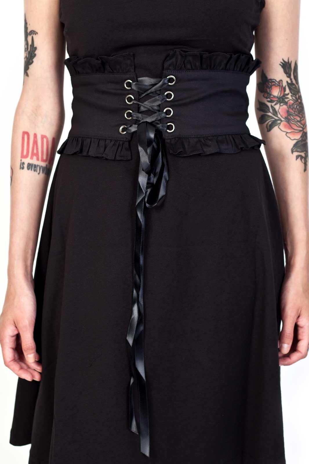 Black Corset Belt With Frill