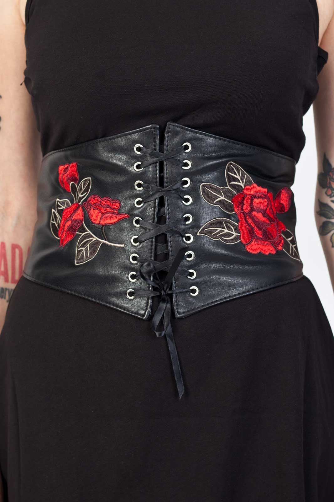 Black PU Belt With Roses