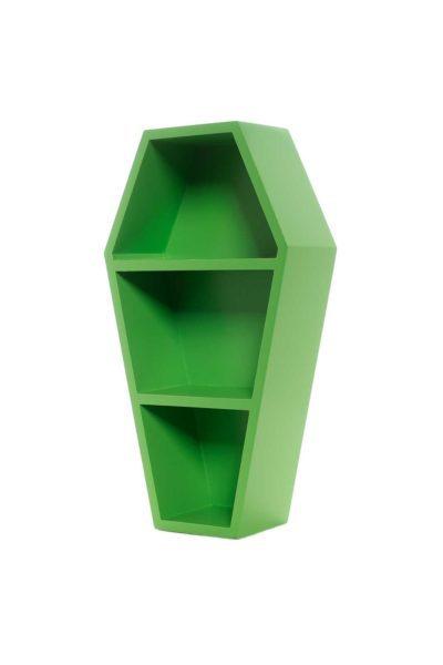 Coffin Wall Shelf Green från sidan