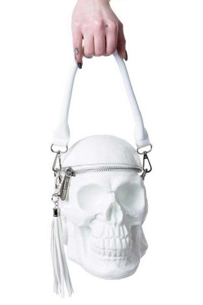 Grave Digger Skull Handbag White