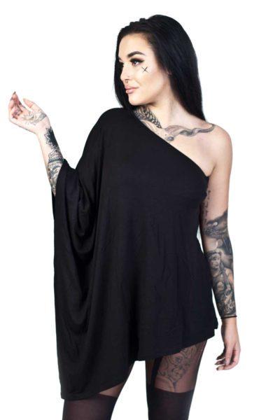 Nepthys Draped Mini Dress Black