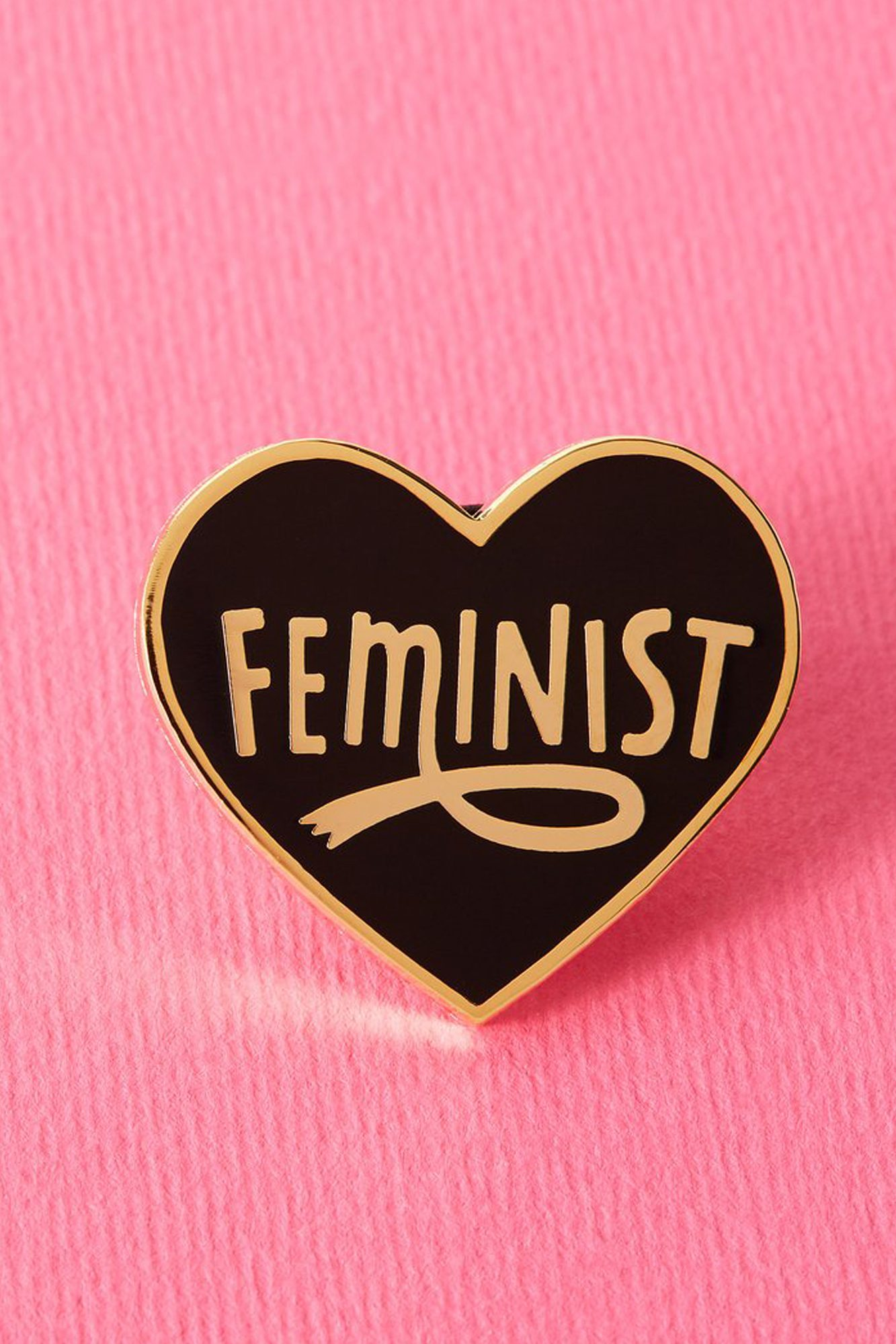 Black Feminist Heart Shaped Enamel Pin