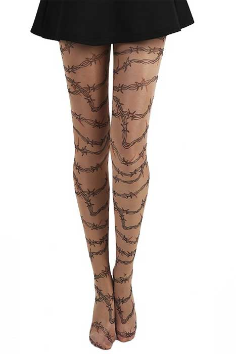 Barbed Wired Gothic Tattoo Tights Black