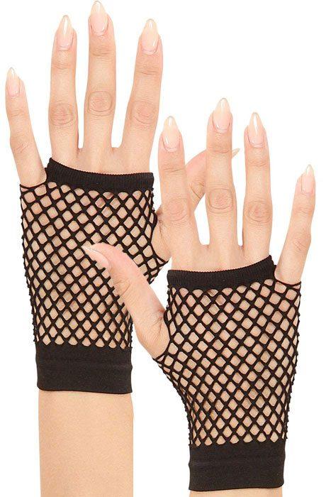 Short Black Fingerless Fishnet Gloves