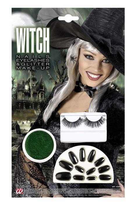 Black Nails, Black Eyelashes & Green Glitter