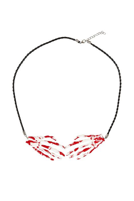 Bloody Skeleton Hands Necklace