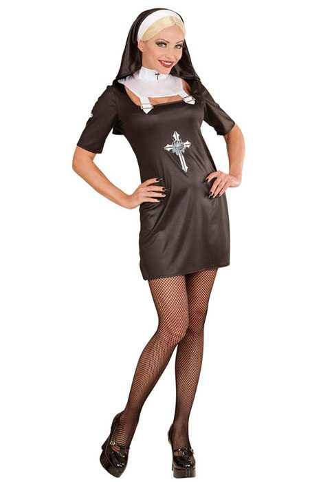 Gothic Nun Dress and Headpiece Black