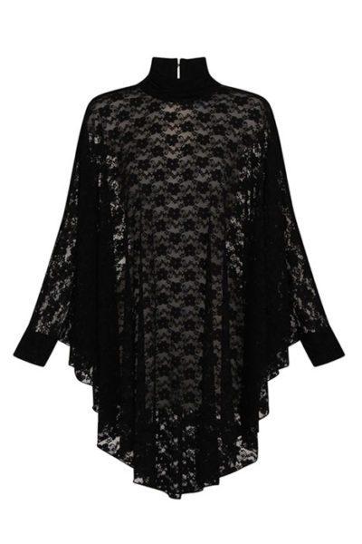 Lydia Lace Drape Dress Black framsida