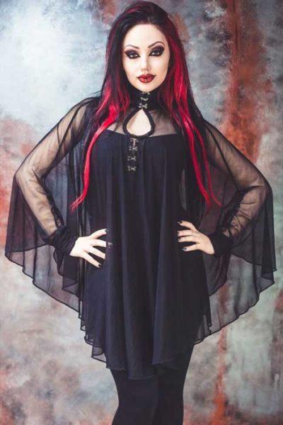 Lydia Mesh Circle Dress Black