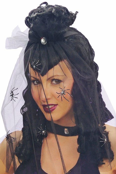 Dark Mistress Wig w. Veil And Strass Spiders