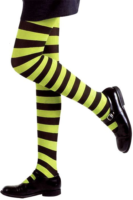Neon Striped Pantyhose Lime