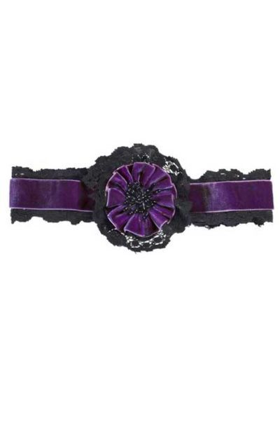 Purple Velvet Choker With Flower And Lace