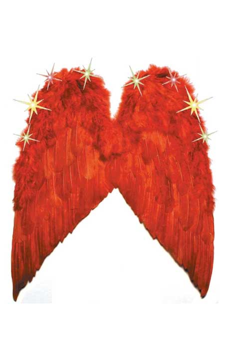 Light-Up Feather Wings Red