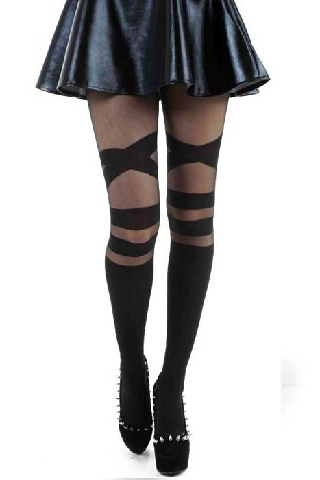 V Strap Sheer Tights Black