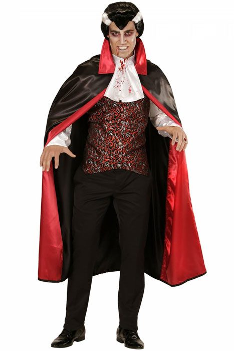 Bloody Vampire Shirt w. Vest, Jabot and Cape Red
