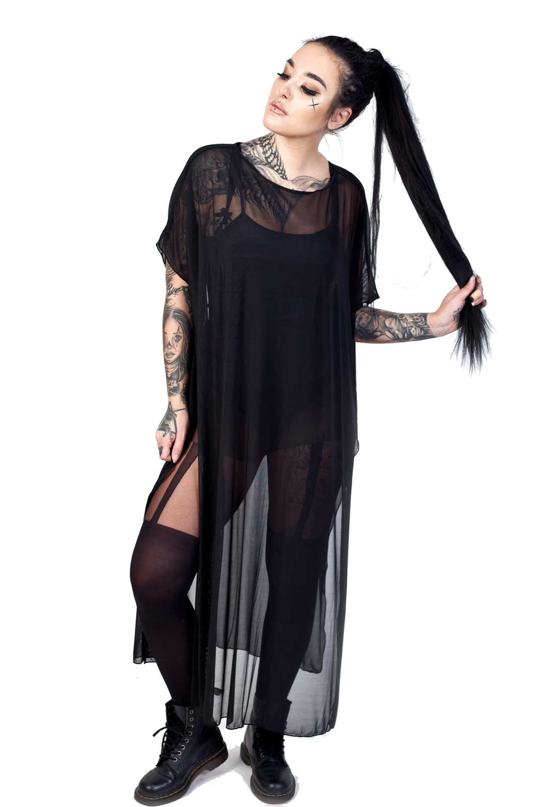 Hecate Mesh Poncho Dress Black