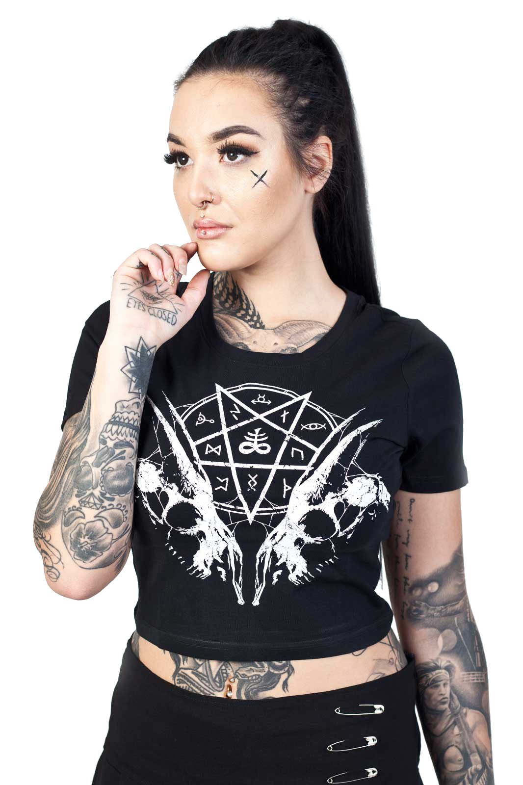 Goat Skull Pentagram Crop Top Black