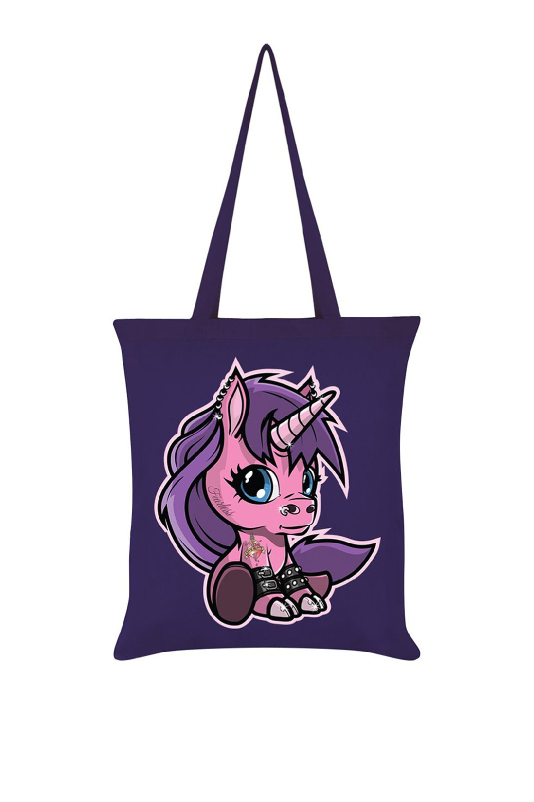 Fearless The Baby Unicorn Purple Tote Bag
