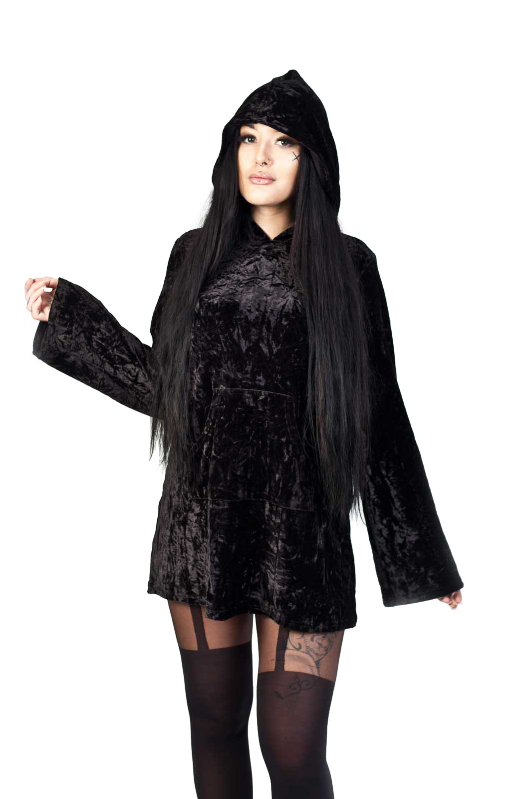 Minimal Goth Velvet Hoodie Dress Black
