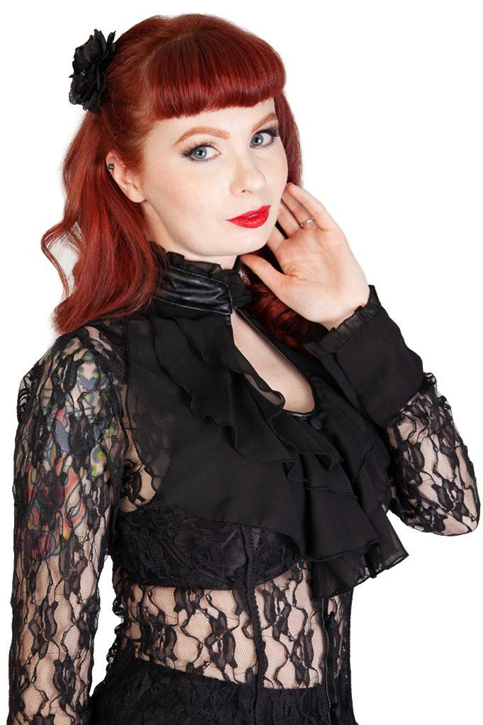 Crimson Lace Top Black