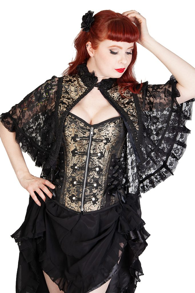 Draconia Bolero Gold King Brocade Black