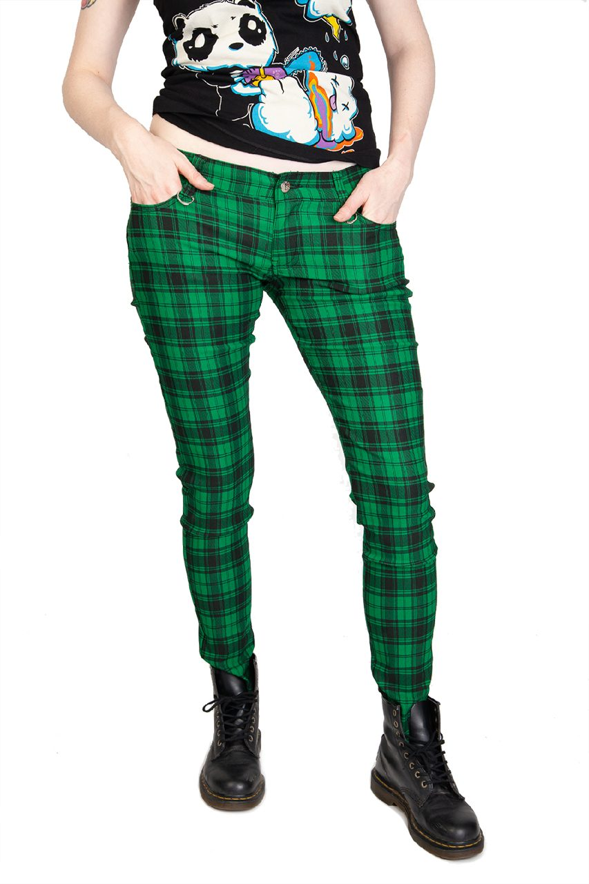 Check Skinny Jeans Green
