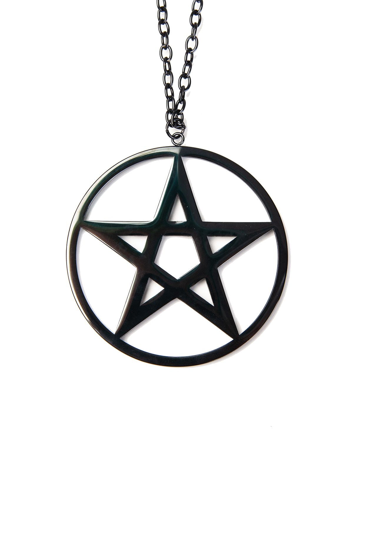 Pendant Big Plain Pentagram Black