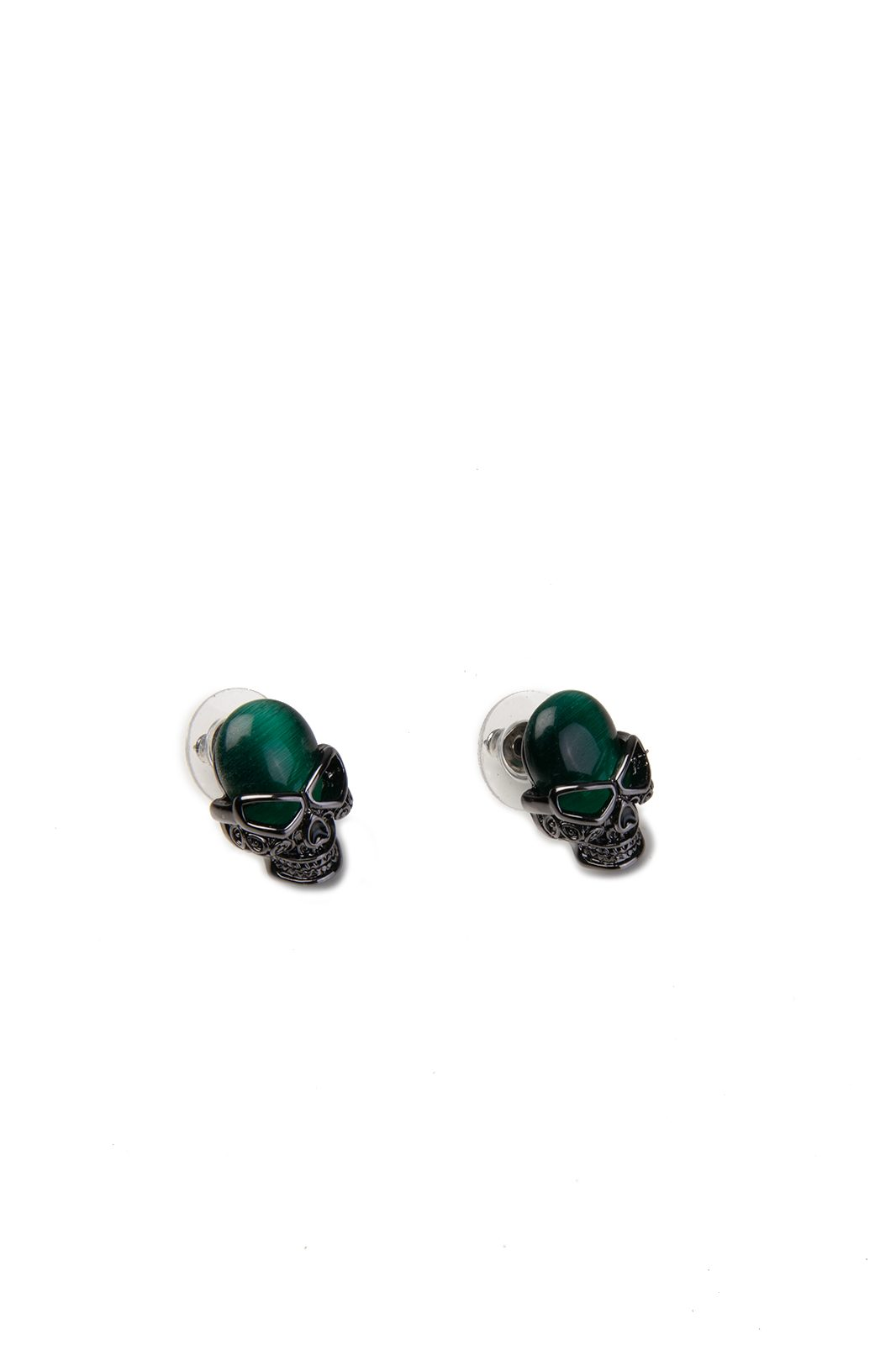 Emerald Skull Studded Earrings