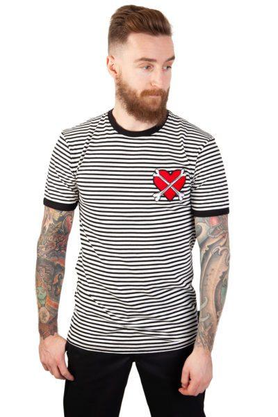 X Marks Spot Ringer Tee Black-white