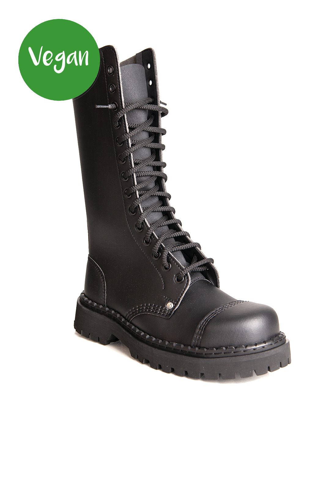 14 Eye Toe Vegan Boots Black
