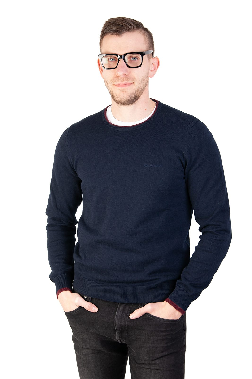 Tipped Crew Neck Navy Blue