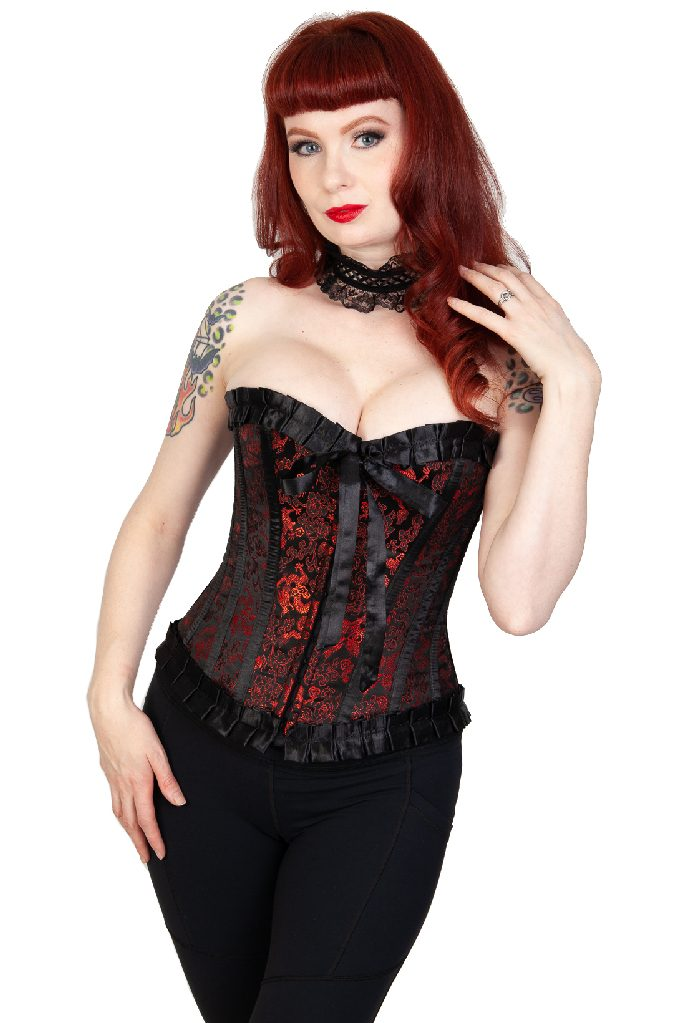 Lily Satin Hook Overbust Red Dragon Black