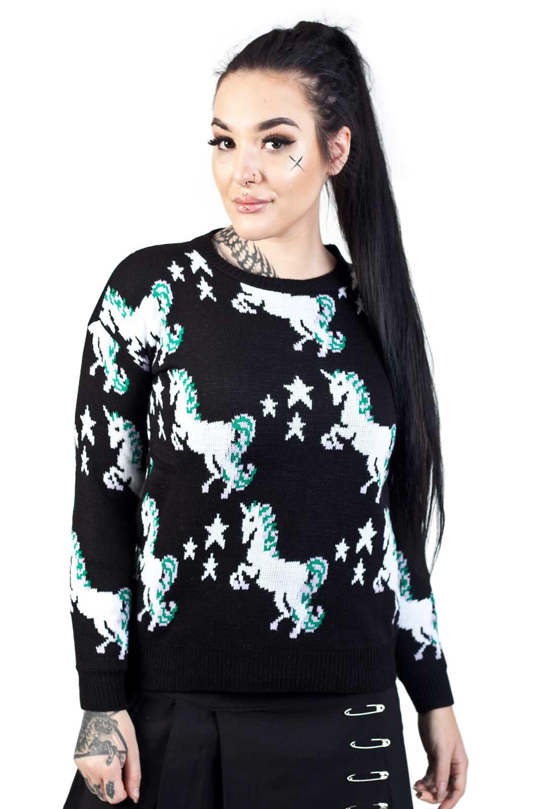 Knitted Sweater Starry Unicorn Black