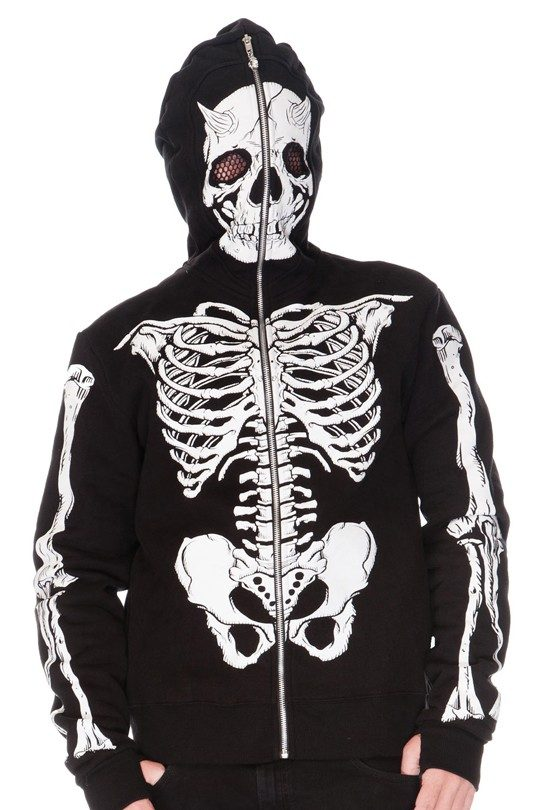 Demon Skeleton Full Face Hoodie Black