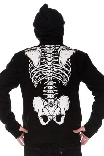 Demon Skeleton Full Face Hoodie Black