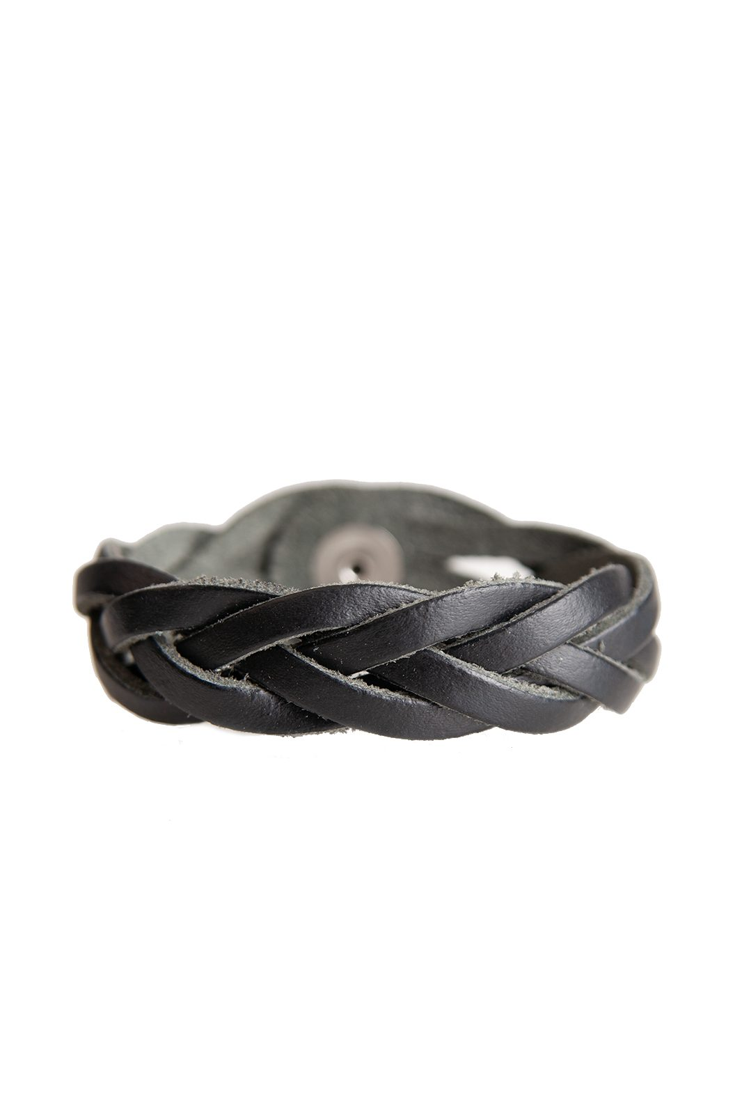 Black Weaved Leather Wristband