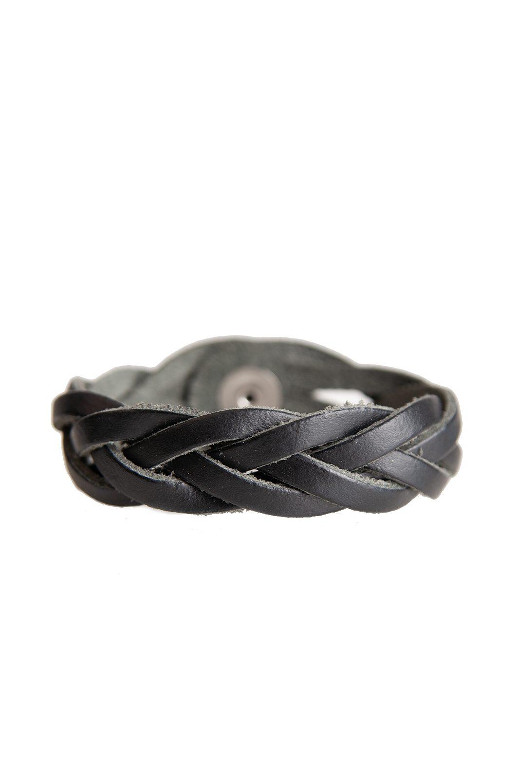 Black Weaved Leather Wristband