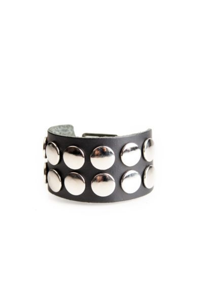 2 Row Button Leather Wristband