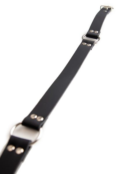Leather Belt with Ring Links Black