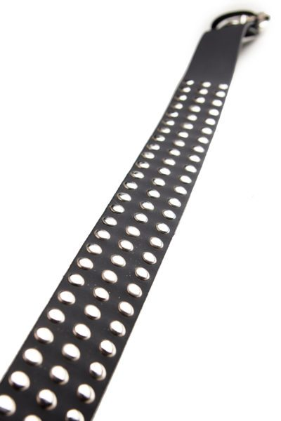 3 Row Small Rivet Leather belt Black