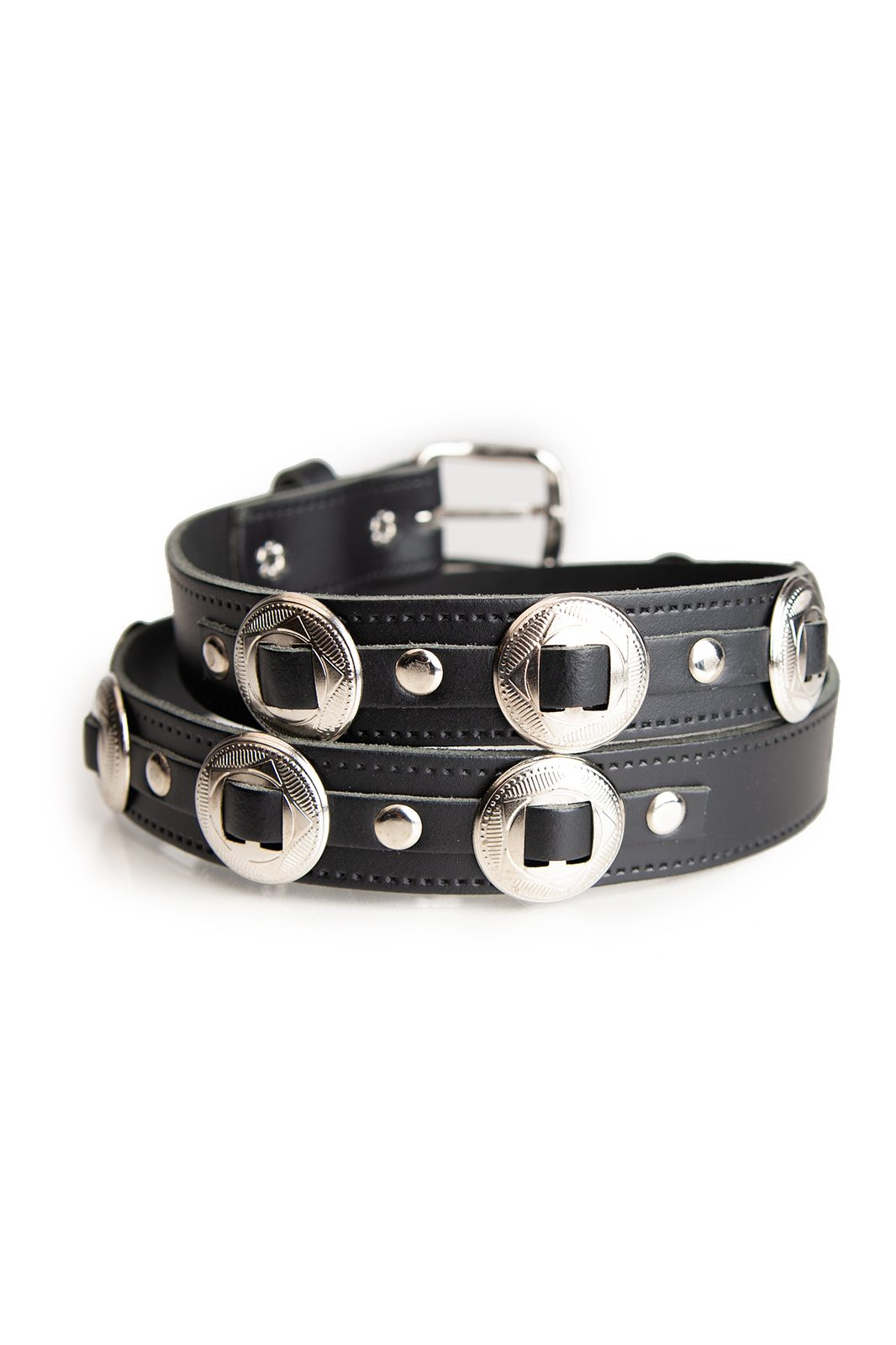 25mm Concho Leather Belt Black