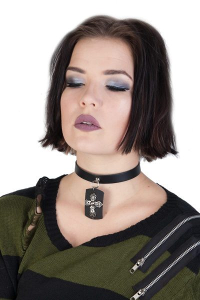 1 Row Crucifix Leather Choker