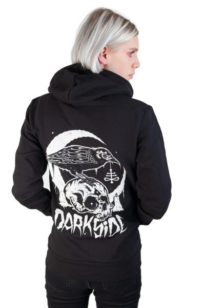 Skull Crow Zip hood Black