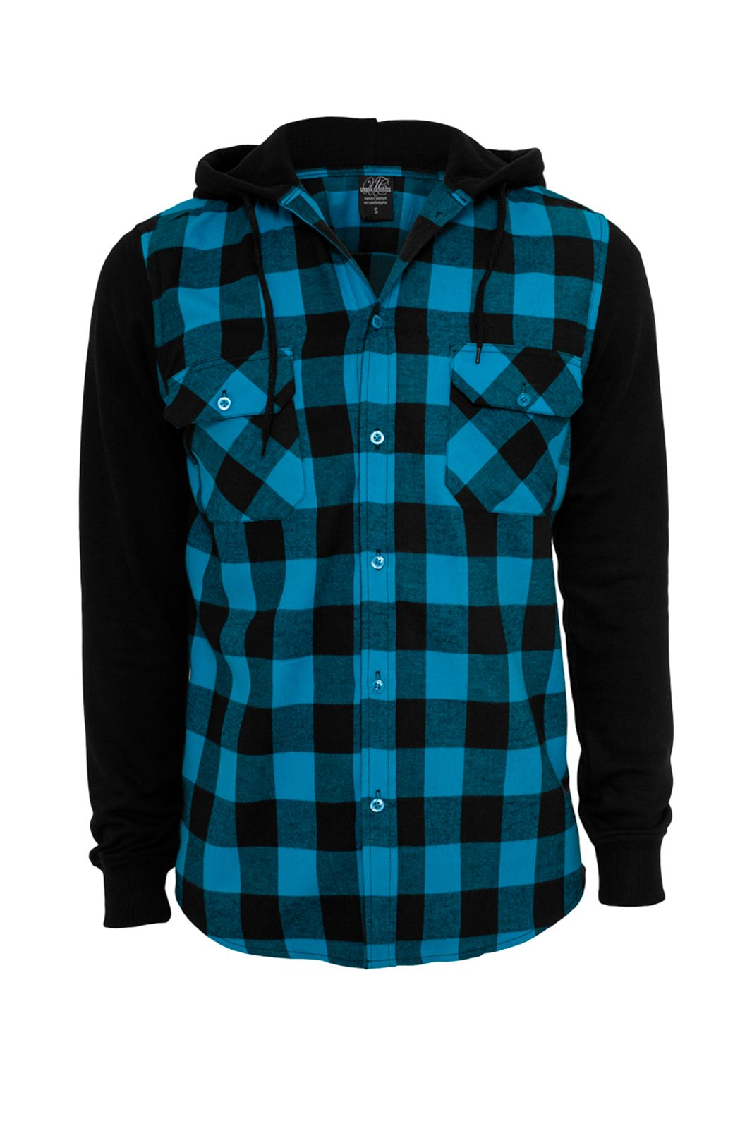 Hooded Checked Flanell Sweat Shirt Turquoise