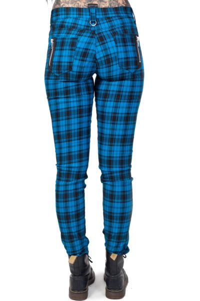 Ladies Trousers Blue Tartan