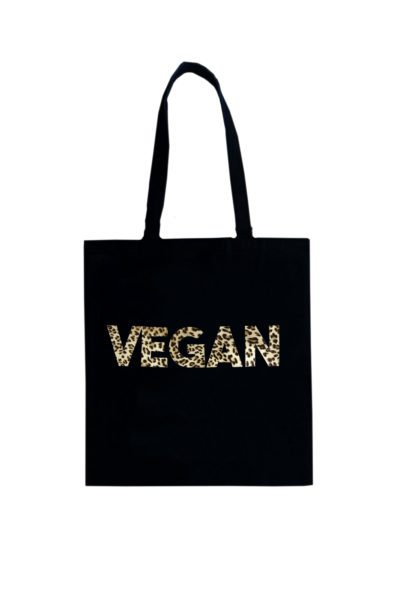 Vegan Tote Leopard On Black