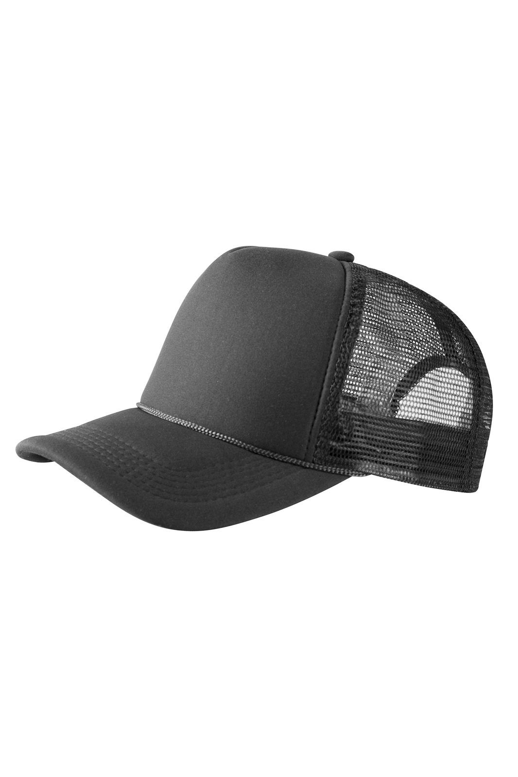 Baseball Cap Trucker High Profile Black
