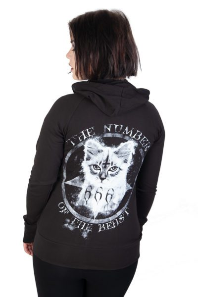 Number Of The Beast 666 Thin Zip Hood Black